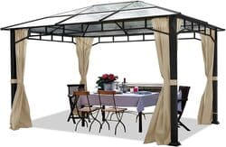 TOOLPORT Cenador de jardín 3x4 m Aluminio Techo de policarbonato 8mm cenador de jardín 4 Cortinas Laterales Color champaña